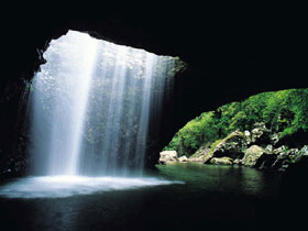 Natural Arch Waterfall, Springbrook on the Gold Coast Hinterland