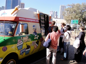 "ice cream truck. it said ""I love Fat"" on the side"