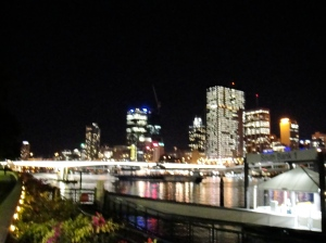 Brisbane city from the ferry stop at South Bank